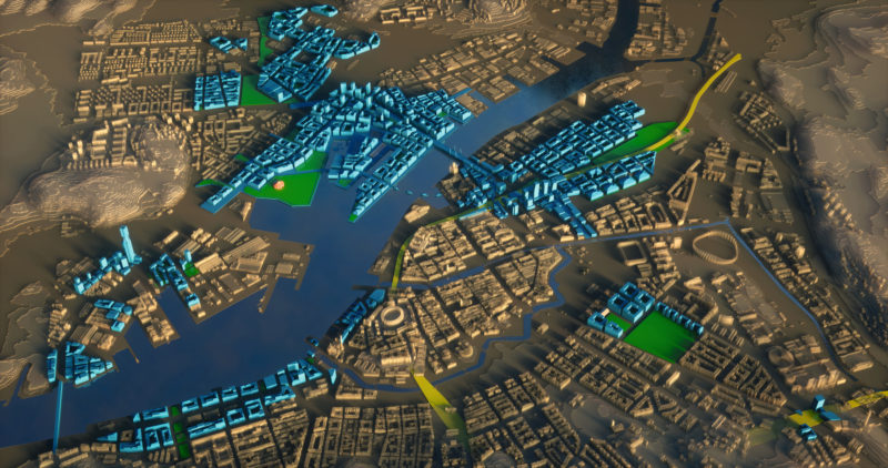 Datorgenererad 3dmodell av Älvstaden, framtagen för att illustrera vad den tänkta utbyggnaden av Göteborg kan innebära. ILLUSTRATION: GÖTEBORGS STADSBYGGNADSKONTOR