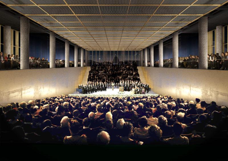 Nobel Centers stora auditorium, som kommer att användas bland annat vid Nobelprisceremonien. Bilder: David David Chipperfield Architects