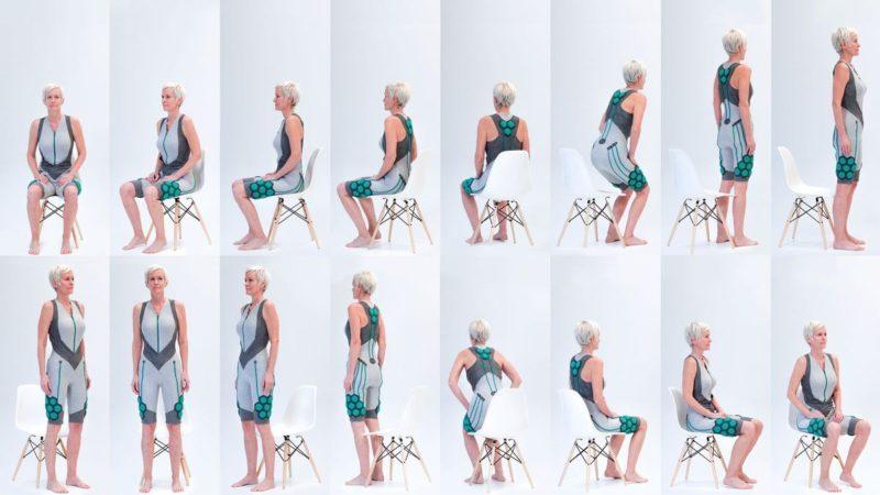 Aura Power Suit har utvecklats av Yves Béhar, Fuseproject och Super ex. Dräkten reagerar på kroppens rörelser och förstärker den egna muskelkraften så att det till exempel blir lättare att resa sig upp. Foto: FUSEPROJECT