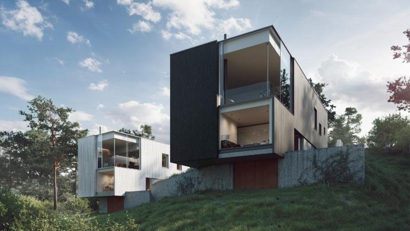 De två villorna Pyrus 9 och 10 i Stockholm fick Ström Architects bygglov för tidigare i år. De två villorna följer samma designspår, medan de varierar i storlek och materialval – till exempel är den ena ljus och den andra mörk. Illustration: Nuno Silva