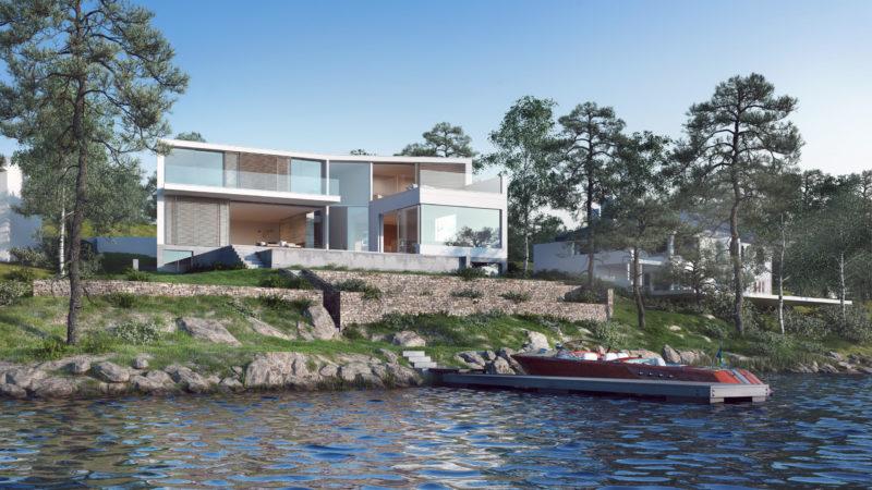 I Stockholmstrakten byggs just nu även den här villan av Ström. Illustration: Nuno Silva