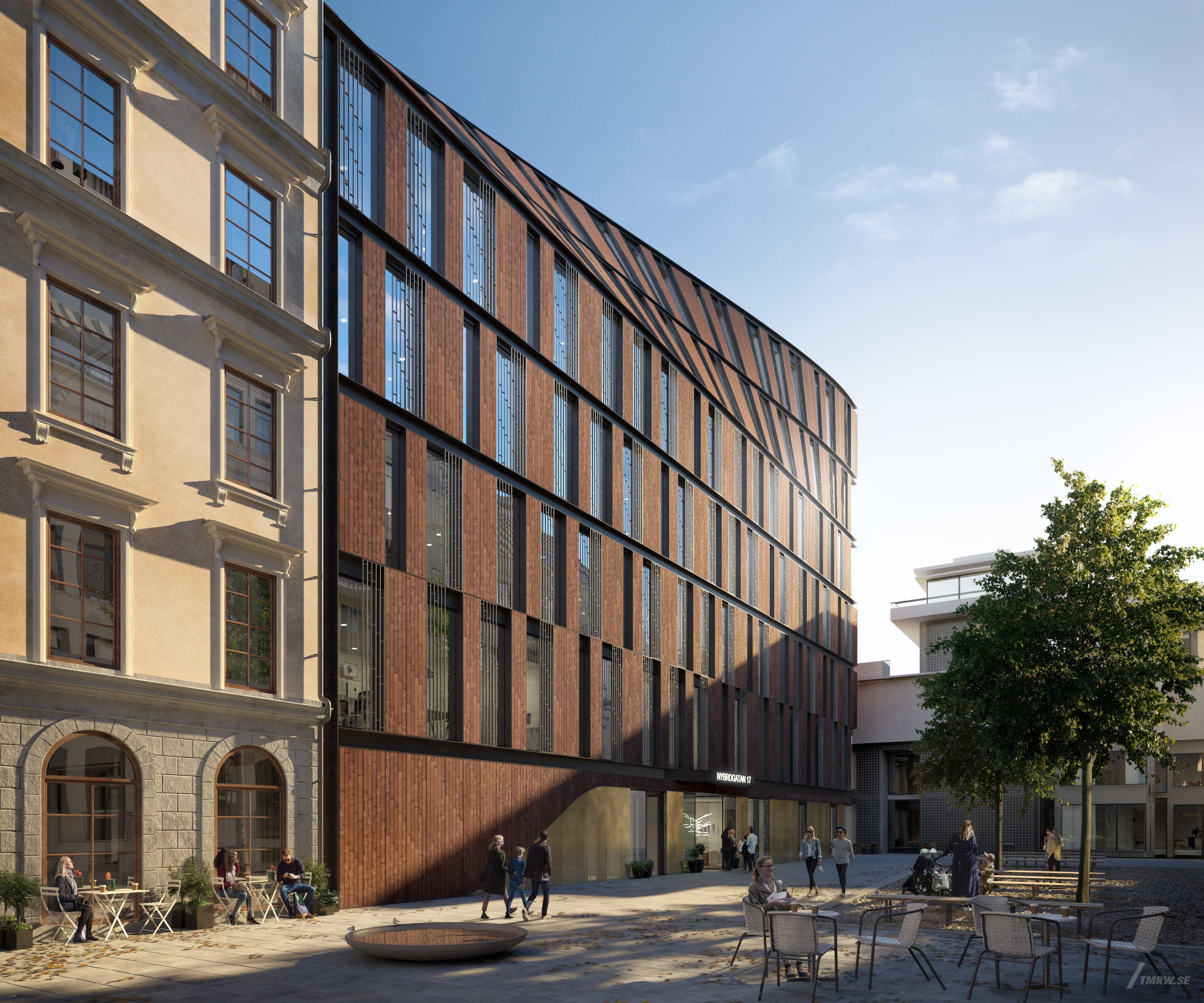 Nybrogatan 17 av 3XN ersätter det rivna Astoriahuset i Stockholm. Illustration: Illustration Tomorrow