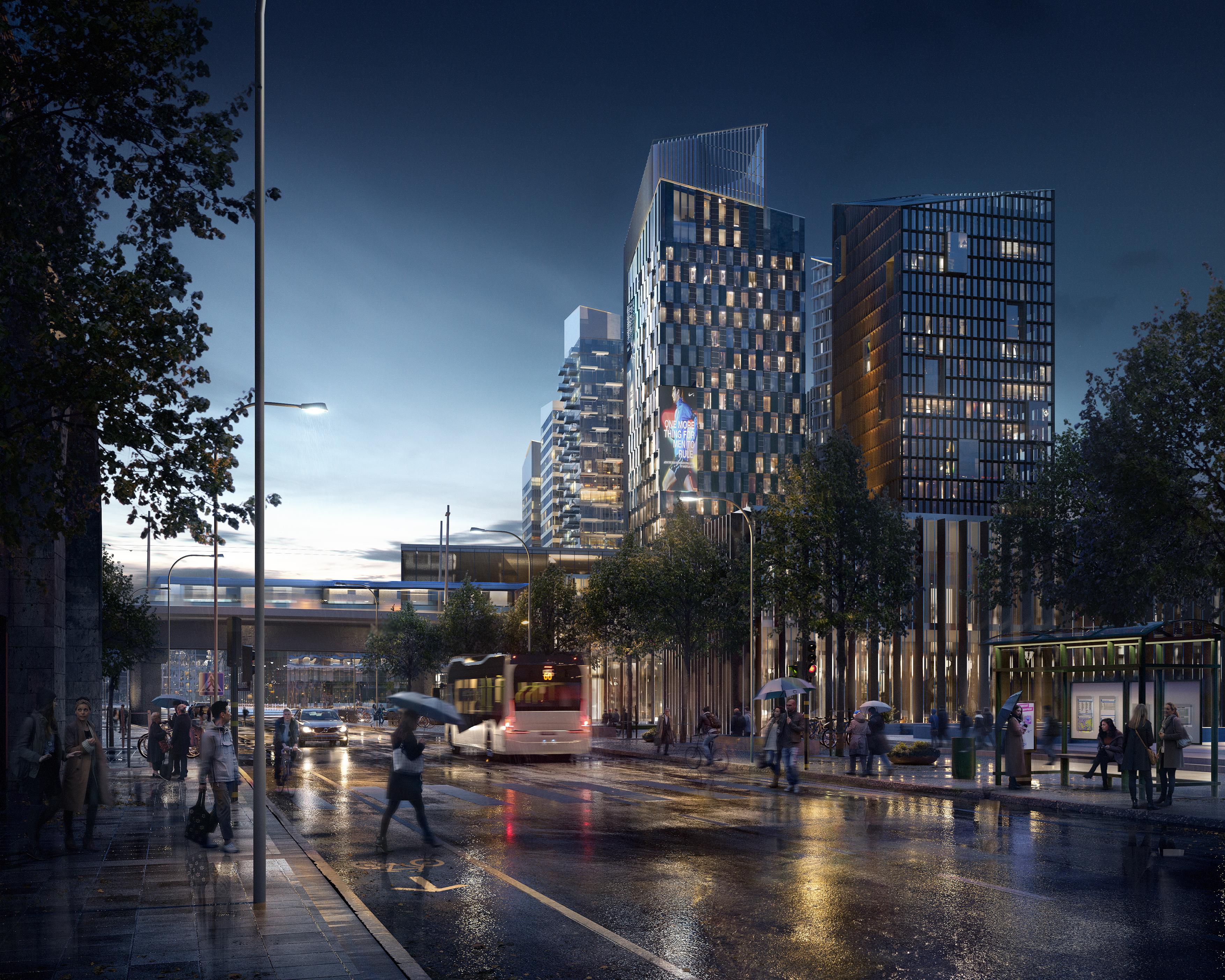 Jernhusens nya Region City i Göteborg, med Älvtornet och Jubileumstornet. Vy från Nordstans norra sida.